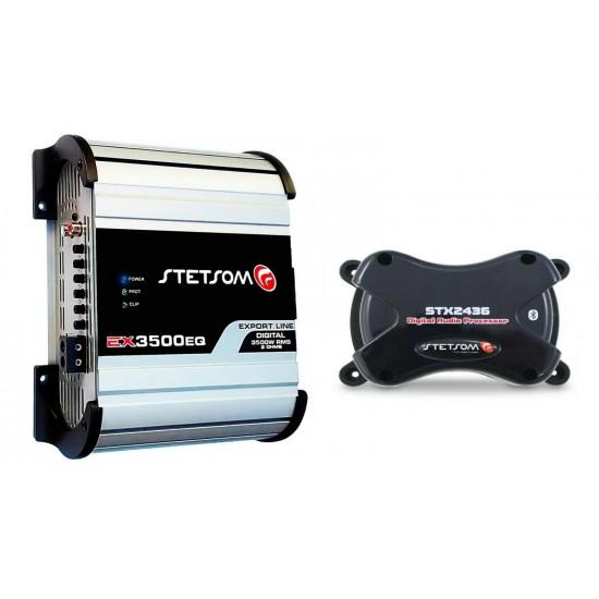 Stetsom EX 3500 EQ 1 Ohm Car Audio Amplifier + Stetsom STX 2436 Bluetooth DIGITA